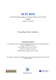 SLTC 2010 Proceedings of the Conference Linköping