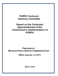 PURPA Technical Advisory Committee  Report on the Continued