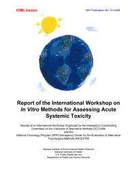 Report of the International Workshop on Methods for Assessing Acute Systemic Toxicity