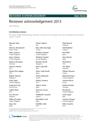 Reviewer acknowledgement 2013 Open Access Alice K Murray