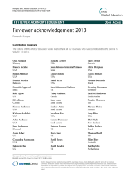 Reviewer acknowledgement 2013 Open Access Fernando Marques