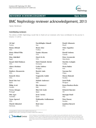 BMC Nephrology reviewer acknowledgement, 2013 Open Access Hayley Henderson