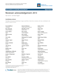 Reviewer acknowledgement 2013 Open Access Vipin Zamvar