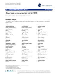 Reviewer acknowledgement 2013 Open Access Thomas Stamm