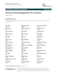 Annual acknowledgement of reviewers Open Access Timothy R Sands