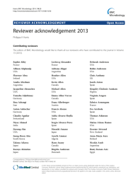 Reviewer acknowledgement 2013 Open Access Philippa K Harris