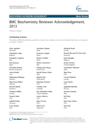 BMC Biochemistry Reviewer Acknowledgement, 2013 Open Access