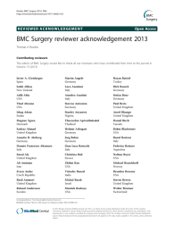 BMC Surgery reviewer acknowledgement 2013 Open Access Thomas A Rowles