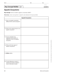 Aquatic Ecosystems Key Concept Builder LESSON 2 Key Concept