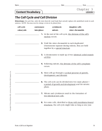 The Cell Cycle and Cell Division Chapter 3 Content Vocabulary