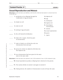 Sexual Reproduction and Meiosis Content Practice  A LESSON 1 1.