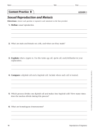 Sexual Reproduction and Meiosis Content Practice  B LESSON 1 1.