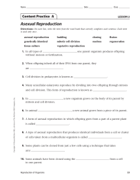 Asexual Reproduction Content Practice  A
