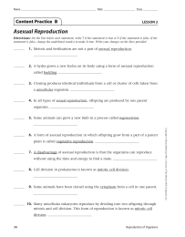 Asexual Reproduction Content Practice  B LESSON 2