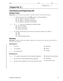 Classifying and Exploring Life Chapter 1 Chapter Test  A Multiple Choice