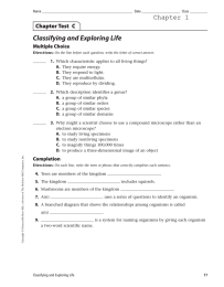 Classifying and Exploring Life Chapter 1 Chapter Test  C Multiple Choice