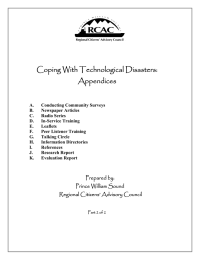 Coping With Technological Disasters: Appendices