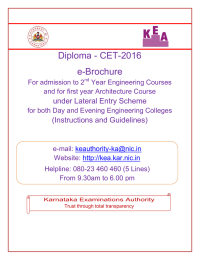 Diploma - CET-2016 e-Brochure under Lateral Entry Scheme