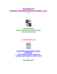 DATABASE OF SCIENCE COMMUNICATORS IN INDIA: 2013