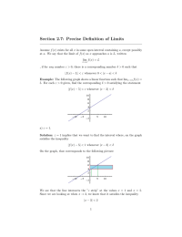 Section 2.7: Precise Definition of Limits