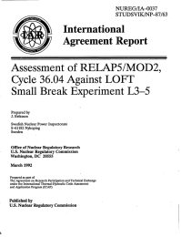 International Agreement  Report Assessment  of RELAP5/MOD2,