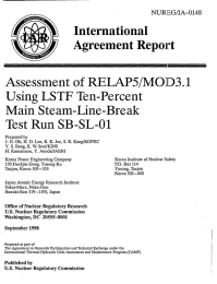 Agreement  Report Assessment  of RELAP5/MOD3.1 LSTF Main  Steam-Line-Break