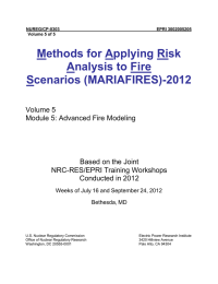 Methods for Applying Risk Analysis to Fire Scenarios (MARIAFIRES)-2012