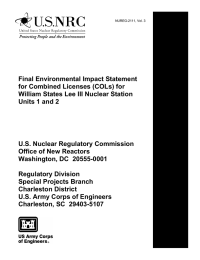 Final Environmental Impact Statement for Combined Licenses (COLs) for