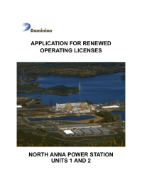 APPLICATION FOR RENEWED OPERATING LICENSES NORTH ANNA POWER STATION UNITS 1 AND 2