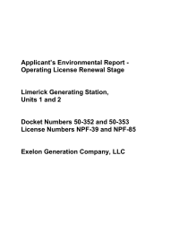 Applicant's Environmental Report - Operating License Renewal Stage  Limerick Generating Station,