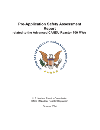 Pre-Application Safety Assessment Report related to the Advanced CANDU Reactor 700 MWe