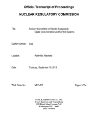 Official Transcript of Proceedings NUCLEAR REGULATORY COMMISSION