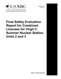Final Safety Evaluation Report for Combined Licenses for Virgil C. Summer Nuclear Station,