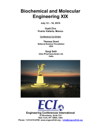 Biochemical and Molecular Engineering XIX  Engineering Conferences International