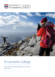 St Leonard's College News from the postgraduate community 2014 / 2015