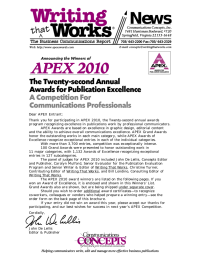 News APEX 2010 The Twenty-second Annual Awards for Publication Excellence