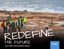 REDEFINE THE FUTURE EXECUTIVE REPORT 2014 EMC Sustainability Report