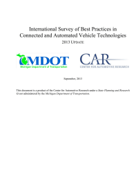 International Survey of Best Practices in Connected and Automated Vehicle Technologies 2013 U