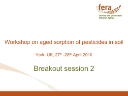 Breakout session 2 Workshop on aged sorption of pesticides in soil -28