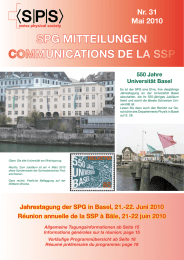 SPG MITTEILUNGEN COMMUNICATIONS DE LA SSP Nr. 31 Mai 2010