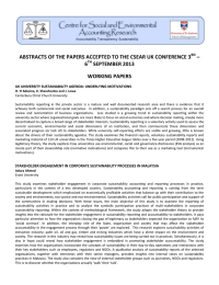 ABSTRACTS OF THE PAPERS ACCEPTED TO THE CSEAR UK CONFERENCE... – 6