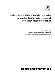 RESEARCH REPORT 028 Behavioural studies of people's attitudes