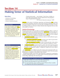 Section 14 Making Sense of Statistical Information Main Ideas