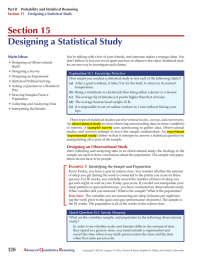 Section 15 Designing a Statistical Study Main Ideas