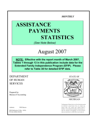 August 2007 ASSISTANCE PAYMENTS