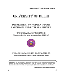 UNIVERSITY OF DELHI  DEPARTMENT OF MODERN INDIAN LANGUAGES AND LITERARY STUDIES