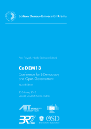 CeDEM13 Conference for E-Democracy and Open Governement Edition Donau-Universität Krems