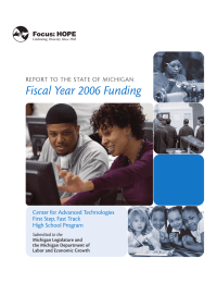 Fiscal Year 2006 Funding Center for Advanced Technologies First Step, Fast Track