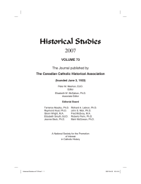 Historical Studies 2007 VOLUME 73 The Canadian Catholic Historical Association