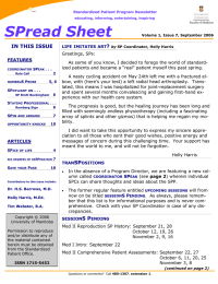 SPread Sheet IN THIS ISSUE FEATURES